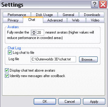 outerworlds help chat settings